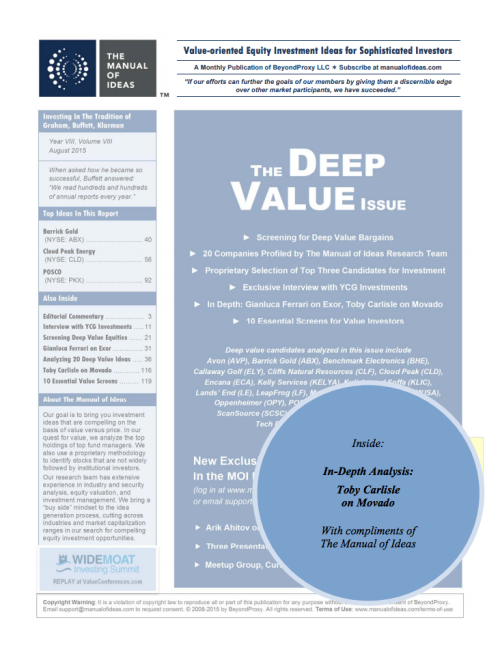 Manual of Ideas Deep Value